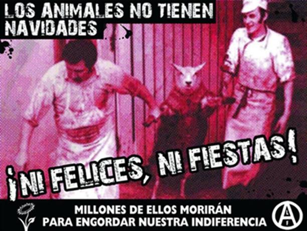 Propaganda antiespecista contra las fiestas de Navidad en Catalunya