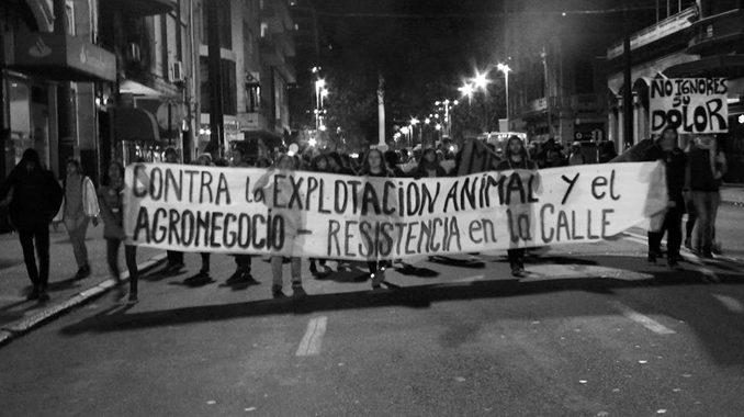 Marcha contra la explotación animal y el agronegocio en Montevideo, Uruguay