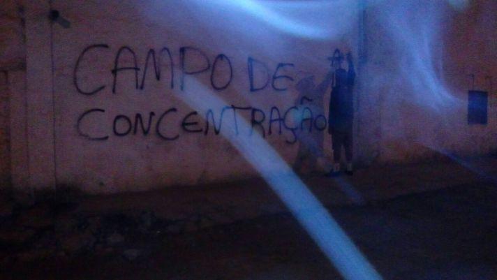 Pintadas en el matadero de cerdos de Suzano (Brasil).