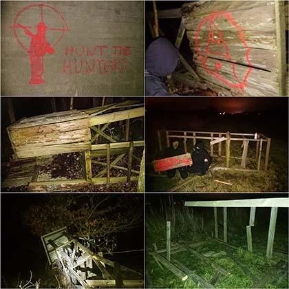 Torres de caza destrozadas en Suecia.