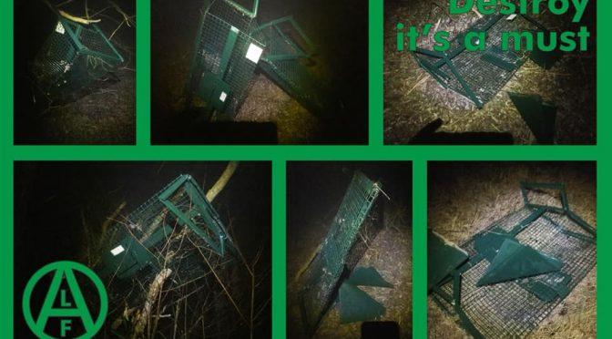 EL Frente de Liberación Animal destruye casi 100 trampas para nutrias en Italia.