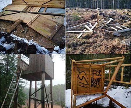 Derrumbadas torres de caza,Trampa de linces destruida en Suecia.